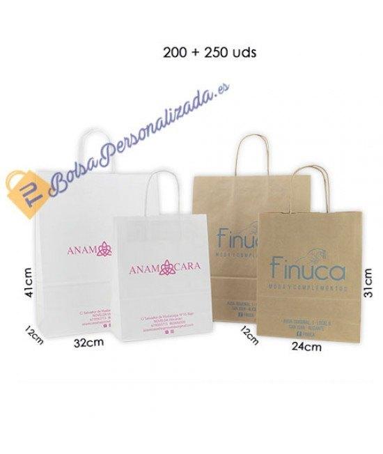 Bolsas de papel asa rígida Pack001