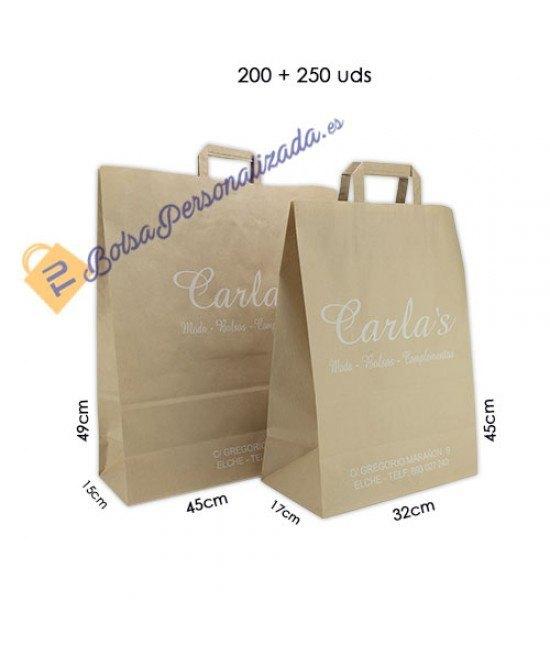 Bolsas de papel asa plana Pack048
