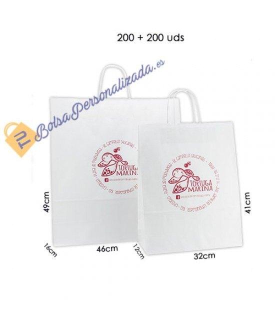 Bolsas de papel asa rígida Pack011