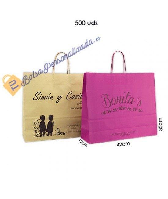 Bolsas de papel asa rígida Pack025