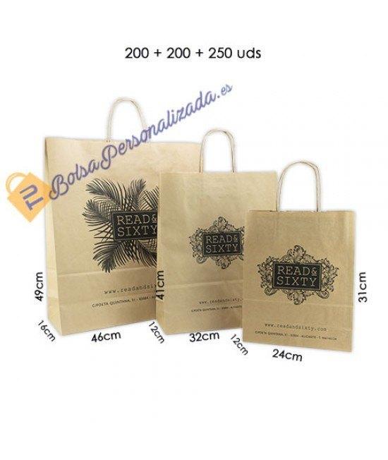 Bolsas de papel asa rígida Pack034