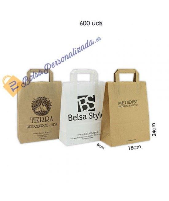 Bolsas de papel asa plana Pack036