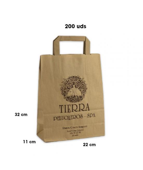 Bolsas de papel asa plana personalizadas Pack253