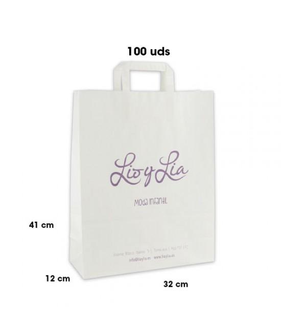 Bolsas de papel asa plana personalizadas Pack254