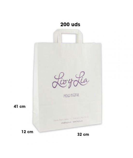 Bolsas de papel asa plana personalizadas Pack255