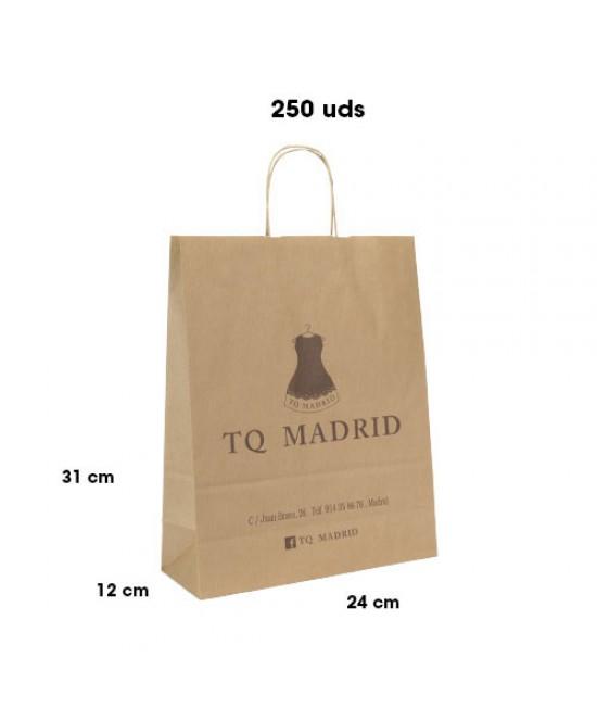 Bolsas de papel asa rígida personalizadas Pack259