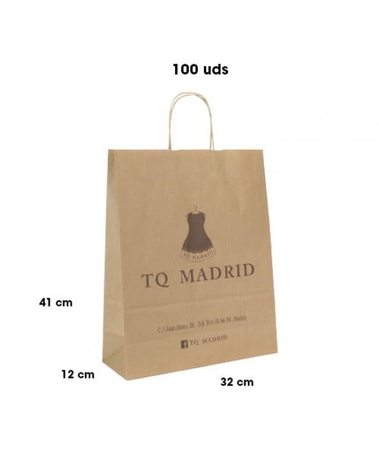 Bolsas de papel asa rígida personalizadas Pack260
