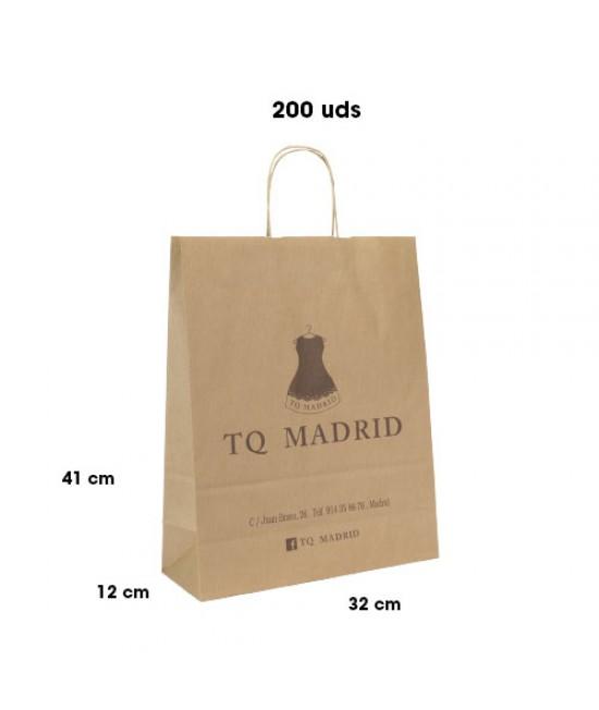 Bolsas de papel asa rígida personalizadas Pack261