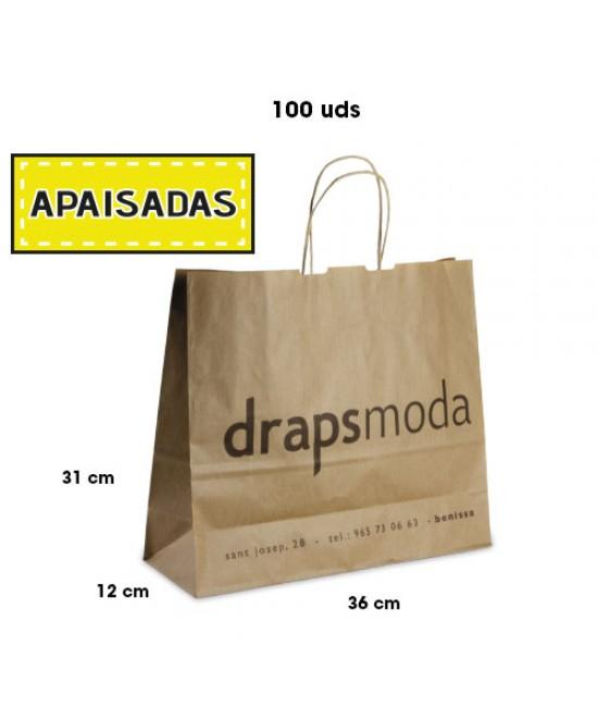 Bolsas de papel asa rígida personalizadas Pack262