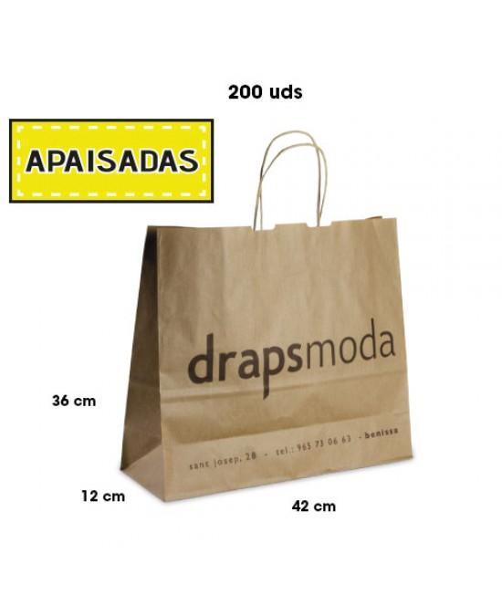 Bolsas de papel asa rígida personalizadas Pack265