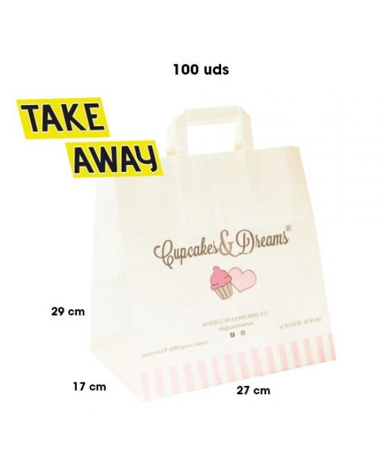 Bolsas de papel asa plana personalizadas TAKE AWAY Pack266