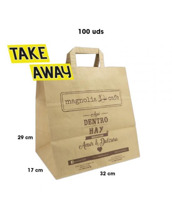 Bolsas de papel asa plana personalizadas TAKE AWAY Pack268