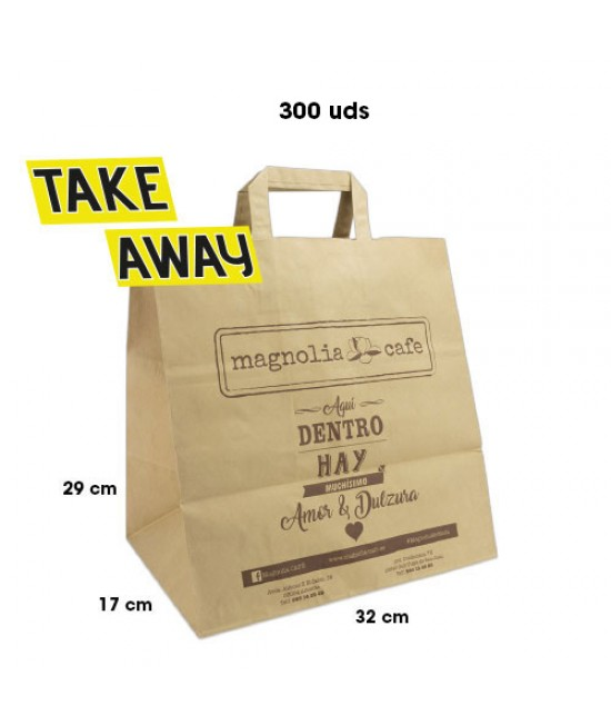 Bolsas de papel asa plana personalizadas TAKE AWAY Pack269