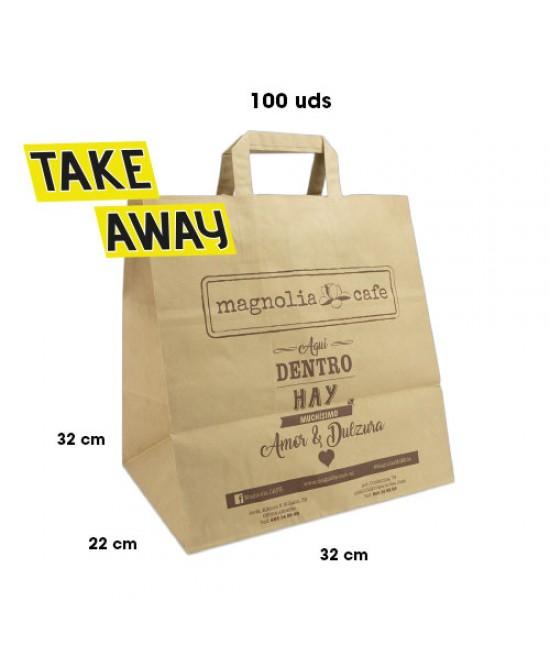 Bolsas de papel asa plana personalizadas TAKE AWAY Pack270