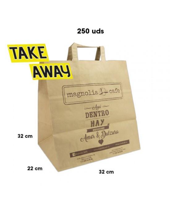 Bolsas de papel asa plana personalizadas TAKE AWAY Pack271