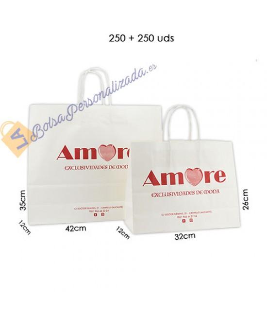 Bolsas de papel asa rígida Pack005