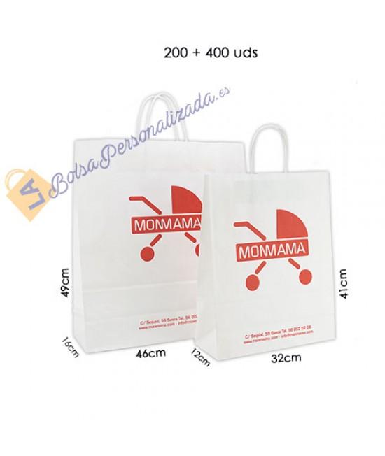 Bolsas de papel asa rígida Pack012