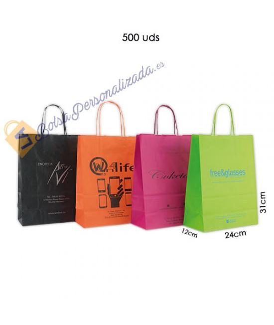 Bolsas de papel asa rígida Pack018