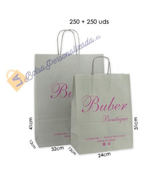 Bolsas de papel asa rígida Pack019