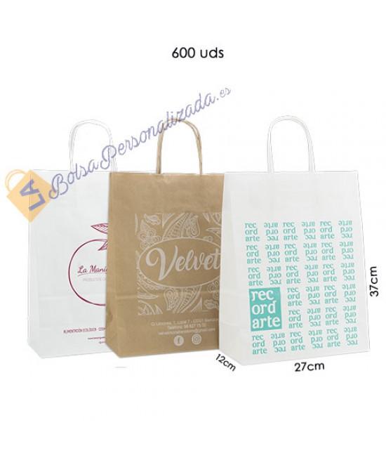 Bolsas de papel asa rígida personalizadas Pack028