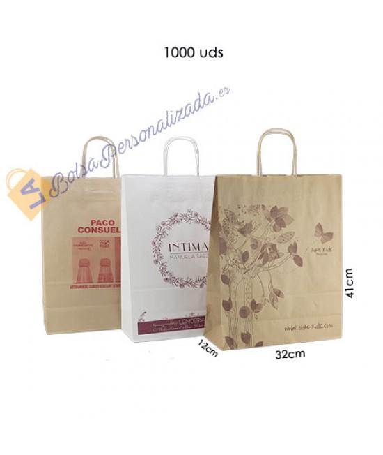 Bolsas de papel asa rígida personalizadas Pack030