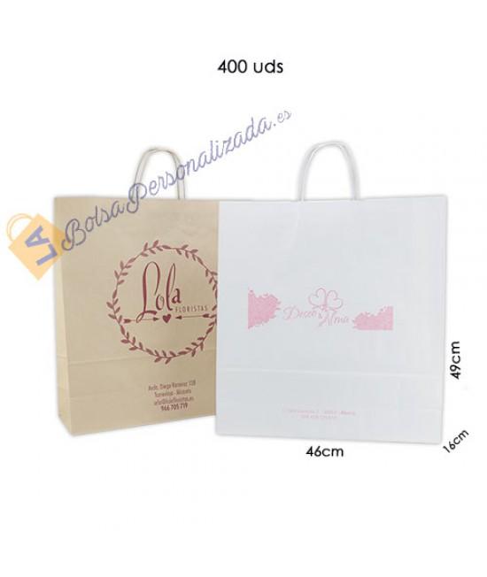 Bolsas de papel asa rígida personalizadas Pack031