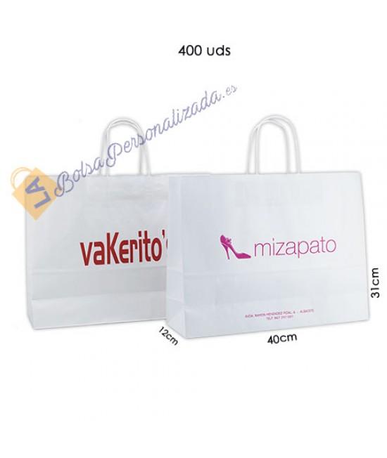Bolsas de papel asa rígida personalizadas Pack035